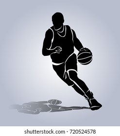 Vector silhouette basketball player