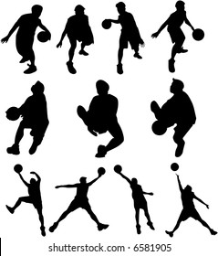 A vector of a silhouette basketball player in action