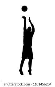 vector of silhouette basketball player shooting the ball
