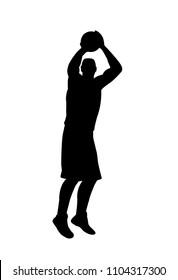 vector of silhouette basketball player shooting the ball