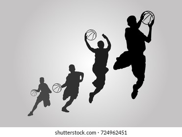 Vector Silhouette of Basketball Players illustration