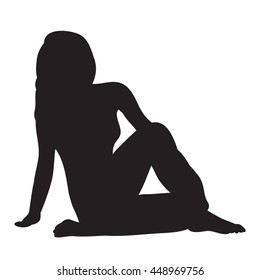 vector silhouette of beautiful girl sits