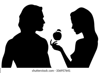 Vector silhouette of beautiful man and woman in profile. Adam and Eve and the forbidden fruit