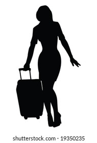 vector silhouette of beautiful woman with suitcase