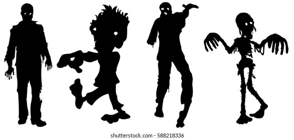 vector silhouette of a big crowd of zombies
