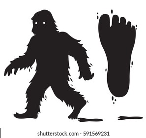 Vector silhouette Bigfoot character - Bigfoot track.