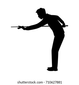 Vector silhouette of a billiard player on white background