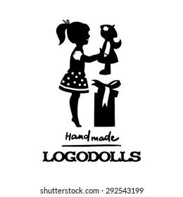 Vector silhouette black illustration. Logo dolls