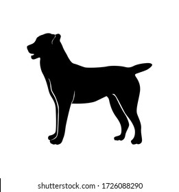 Vector silhouette of a black Labrador or Alabai dog on a white isolated background. Use as logo, emblem for veterinary clinic, nursery.