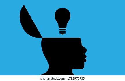 Vector silhouette of black man with side view of head opened to show a light bulb. Illustration is isolated against a blue background. Design concept shows thinking, ideas, creativity or inspiration.