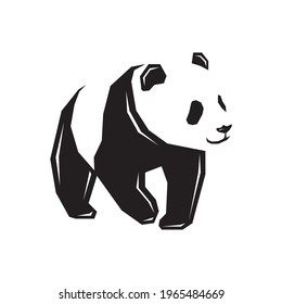 Vector silhouette black Panda image abstract Panda icon design animal Panda design flat vector illustration isolated on white background Editable vector Panda templates side view clip art symbol shape