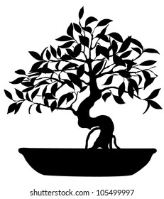 Vector Silhouette of bonsai tree isolated on white background