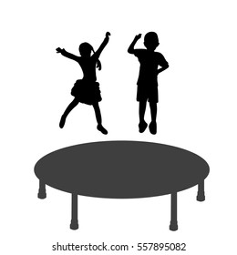 vector silhouette boy and beautiful girl jumping on a trampoline