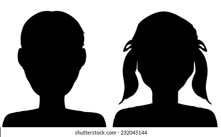 Vector silhouette of a boy and girl on a white background.