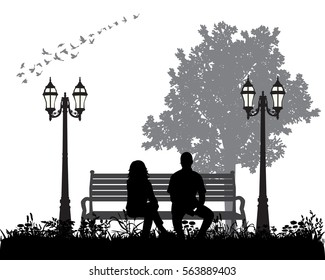 vector silhouette boy and girl sitting on a Park bench