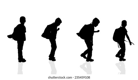 Vector silhouette of a boy on a white background.