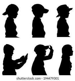 Vector silhouette of the boy in profile on a white background.