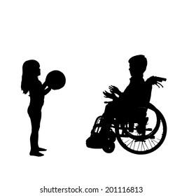 Vector silhouette of a boy in a wheelchair.