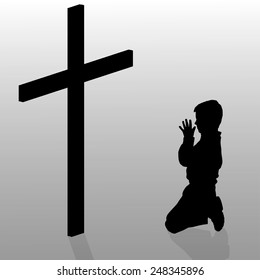 Vector silhouette of a boy who kneels in front of a cross.