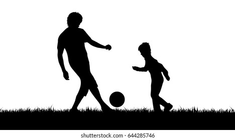 Vector silhouette of boy who plays football on white background.