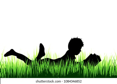 Vector silhouette of boy who read book on a meadow on white background.