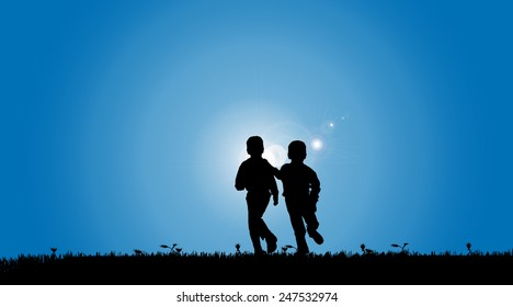 Vector silhouette of a boys who play on the meadow.