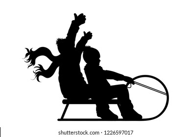 Vector silhouette of boys who sledding on snow toboggan.