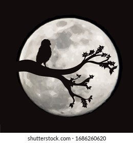 Vector silhouette of branch with owl on moon background. Symbol of night.