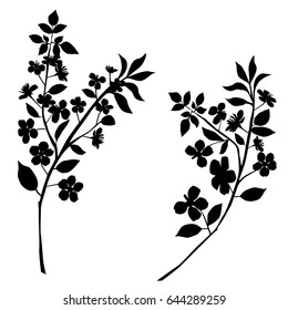 Vector silhouette of the branch tree with flowers, apple or cherry, black color, isolated on white background