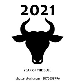 Vector silhouette of a bull, logo with a bull's head. Head of a horned animal, sign of a calf. Vector bull head, calm pose. Bull 2021, symbol of the new year.