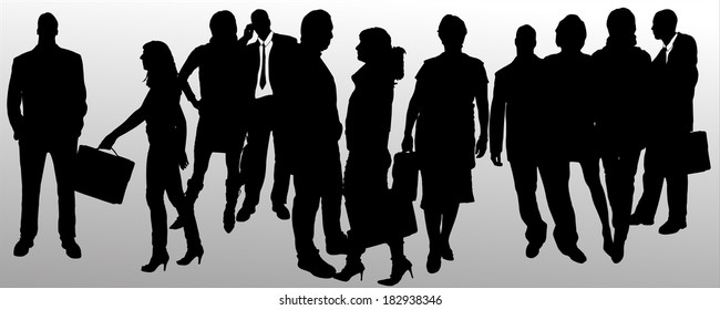 Vector silhouette of business people on a gray background.