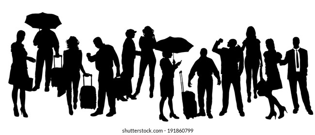 Vector silhouette of business people on a white background.