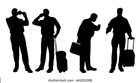 Vector silhouette of businessman on white background.