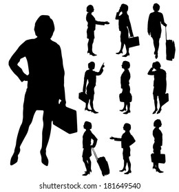 Vector silhouette of businesswoman a white background.