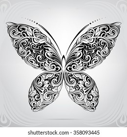 Vector silhouette of butterfly