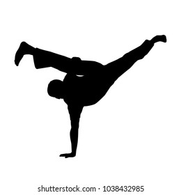vector of silhouette capoeira au batido or L kick in breakdance