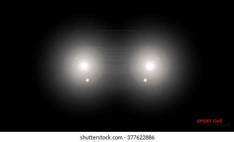 Vector silhouette of car with headlights on black background.