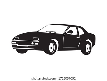 Vector silhouette of car on white background. Retro Car icon illustration. Transport symbol.