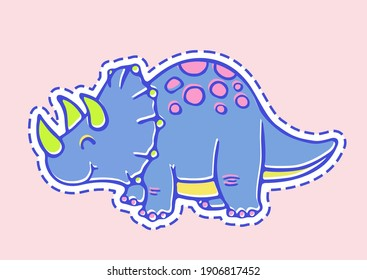 Vector Silhouette Cartoon Cute colorful multicolored pastel kawaii outline drawing illustration of blue baby Triceratops dinosaur for kids isolated on pink background.Vinyl wall sticker decal for kids