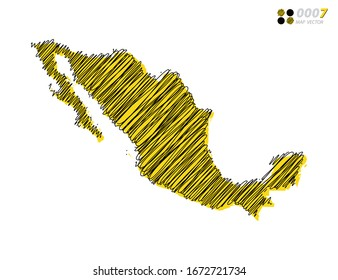 Vector silhouette chaotic hand drawn scribble yellow and black sketch  of Mexico map on white background.