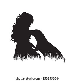 Vector silhouette of child with dog in the grass on white background. Symbol of girl, play, game, pet, animal, friends, infant, childhood, nature, park, garden.