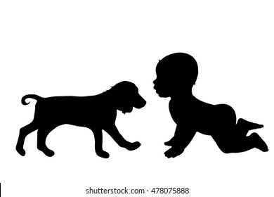 Vector silhouette of child with dog on white background.