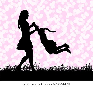 Vector, silhouette of a child and mom playing