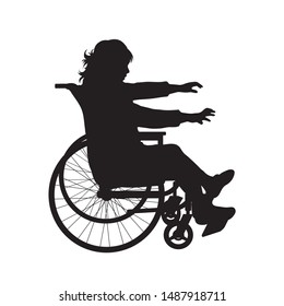 Vector silhouette of child on wheelchair on white background. Symbol of disabled, handicap,accident, injured,girl.