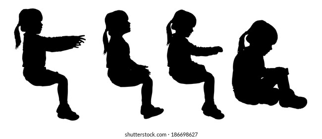 Vector silhouette of child on a white background.