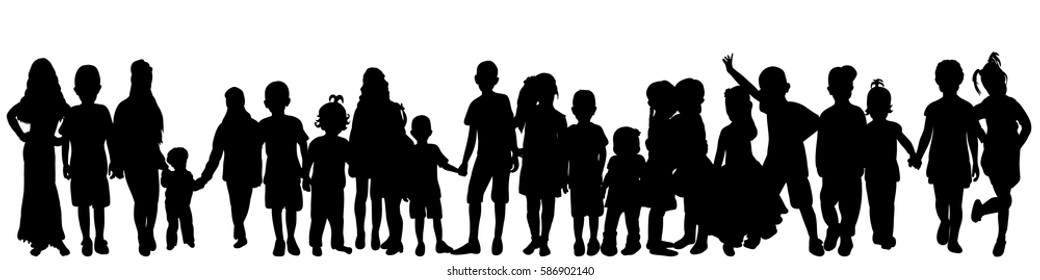 vector silhouette of children, crowd, group