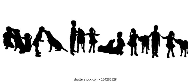 Vector silhouette of children with a dog on a white background.