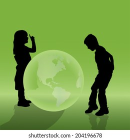 Vector silhouette of a children with globe.