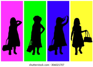 Vector silhouette of children on a colored background.