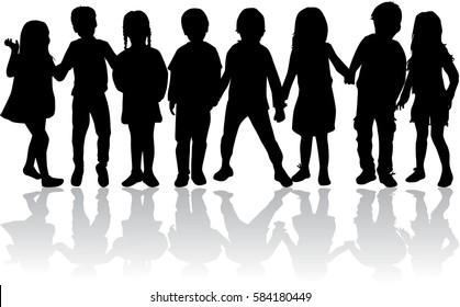 Vektorsilhouette von Kindern auf weißem Hintergrund.